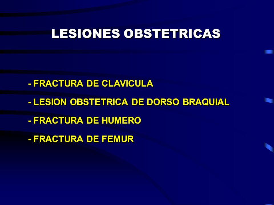 LESIONES OBSTETRICAS - FRACTURA DE CLAVICULA - LESION OBSTETRICA DE DORSO BRAQUIAL - FRACTURA DE HUMERO - FRACTURA DE FEMUR - FRACTURA DE CLAVICULA -