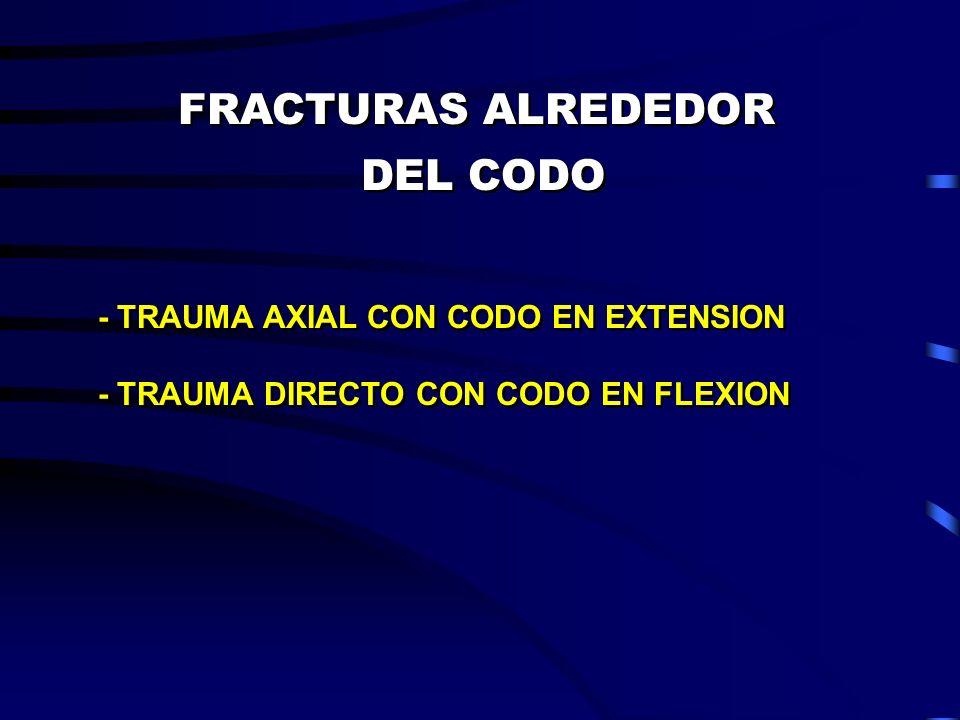 FRACTURAS ALREDEDOR DEL CODO FRACTURAS ALREDEDOR DEL CODO - TRAUMA AXIAL CON CODO EN EXTENSION - TRAUMA DIRECTO CON CODO EN FLEXION - TRAUMA AXIAL CON