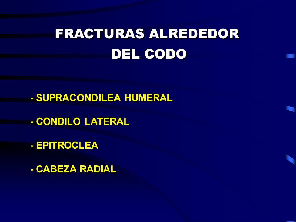 FRACTURAS ALREDEDOR DEL CODO FRACTURAS ALREDEDOR DEL CODO - SUPRACONDILEA HUMERAL - CONDILO LATERAL - EPITROCLEA - CABEZA RADIAL - SUPRACONDILEA HUMER