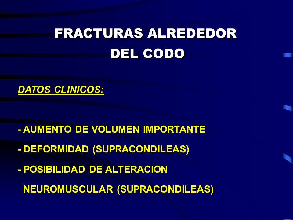 FRACTURAS ALREDEDOR DEL CODO FRACTURAS ALREDEDOR DEL CODO DATOS CLINICOS: - AUMENTO DE VOLUMEN IMPORTANTE - DEFORMIDAD (SUPRACONDILEAS) - POSIBILIDAD