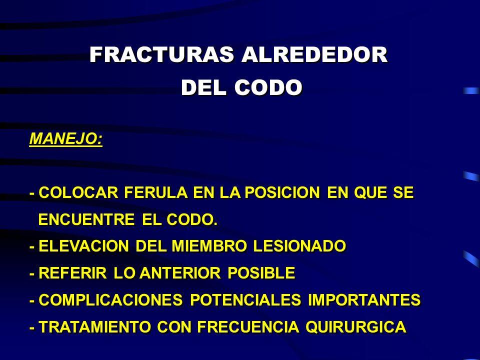 FRACTURAS ALREDEDOR DEL CODO FRACTURAS ALREDEDOR DEL CODO MANEJO: - COLOCAR FERULA EN LA POSICION EN QUE SE ENCUENTRE EL CODO. - ELEVACION DEL MIEMBRO
