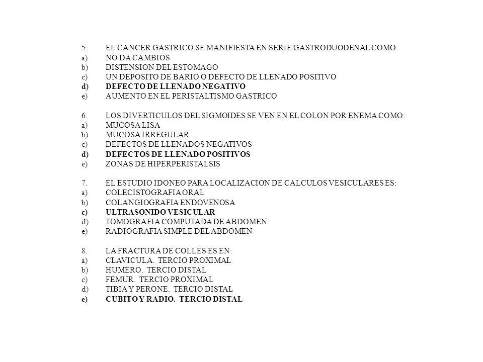9.LA ENFERMEDAD DEGENERATIVA LUMBAR TIENE COMO CAMBIOS FRECUENTES: a)EL COLAPSO DE LA VERTEBRAS b)LA OSTEOPOROSIS DE LAS VERTEBRAS c)LA DEGENERACION DISCAL CON PERDIDA DEL ESPACIO Y OSTEOFITOS d)LA ESCLEROSIS DEL CUERPO VERTEBRAL e)NO DA CAMIBOS 10.EL SIGNO MAS FRECUENTE DE LITIASIS OBSTRUCTIVA RENAL ES: a)CALCIFICACION EN LA CORTEZA DEL RIÑON b)CALCIFICACION DE LOS CALICES c)EXCLUSION RENAL EN UROGRAFIA EXCRETORA d)DILATACION CALICIAL POR ULTRASONIDO e)NO HAY DATOS