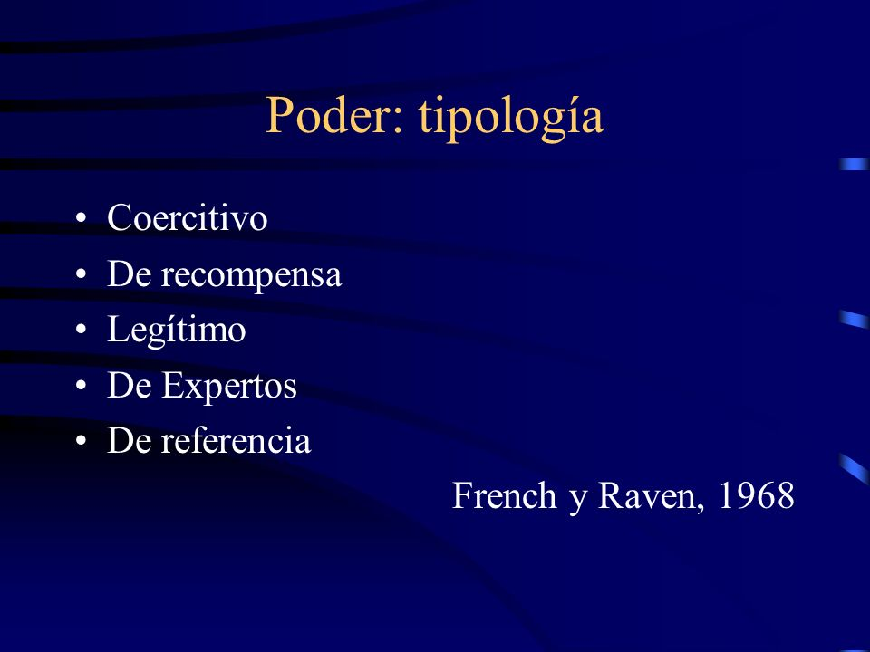 Poder: tipología Coercitivo De recompensa Legítimo De Expertos De referencia French y Raven, 1968