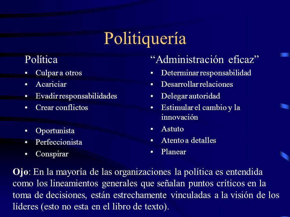 Politiquería Política Culpar a otros Acariciar Evadir responsabilidades Crear conflictos Oportunista Perfeccionista Conspirar Administración eficaz De