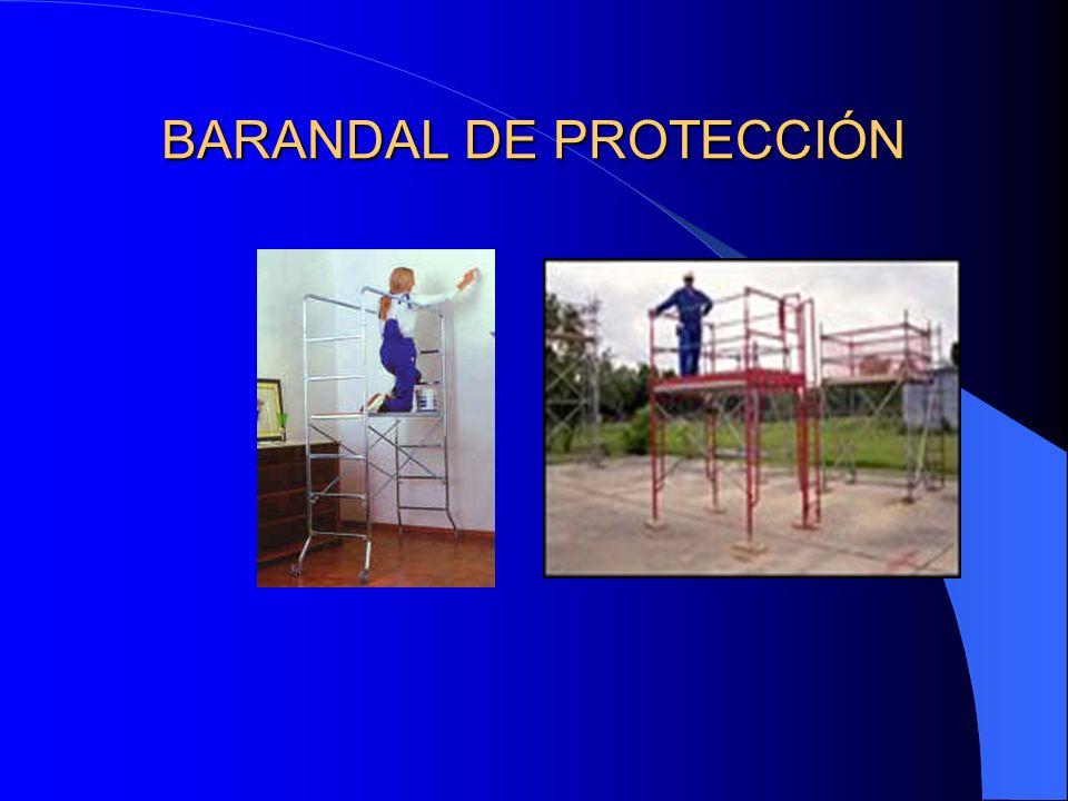 PROTECCIONES PERIMETRALES MEDIANTE BARANDILLAS DE SEGURIDAD La barandilla de seguridad está compuesta por un pasamano tubular, una barra intermedia y
