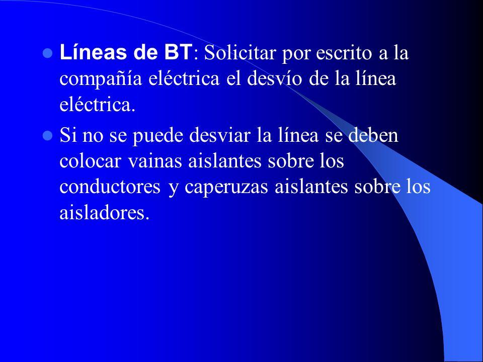 RIESGO DE ELECTROCUCIÓN Para prevenir el riesgo de electrocución consideramos dos casos según se trate de líneas de AT o BT Líneas de AT : Solicitar p