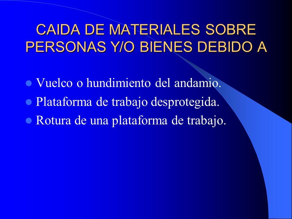 CAIDA DE MATERIALES SOBRE PERSONAS Y/O BIENES DEBIDO A Vuelco o hundimiento del andamio.