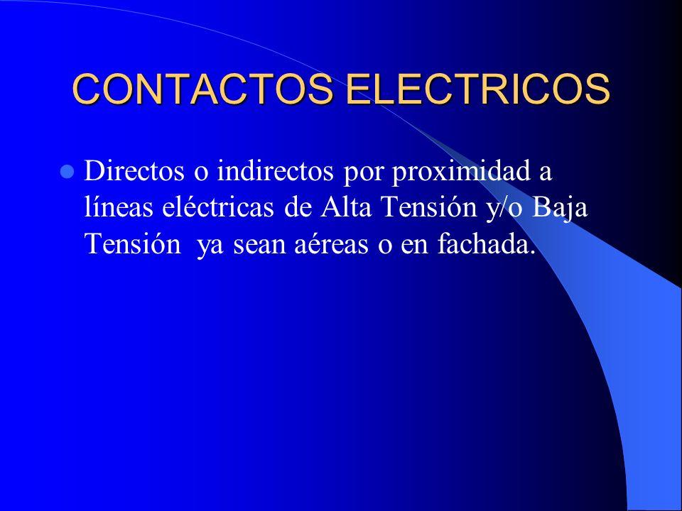 CONTACTOS ELECTRICOS Directos o indirectos por proximidad a líneas eléctricas de Alta Tensión y/o Baja Tensión ya sean aéreas o en fachada.