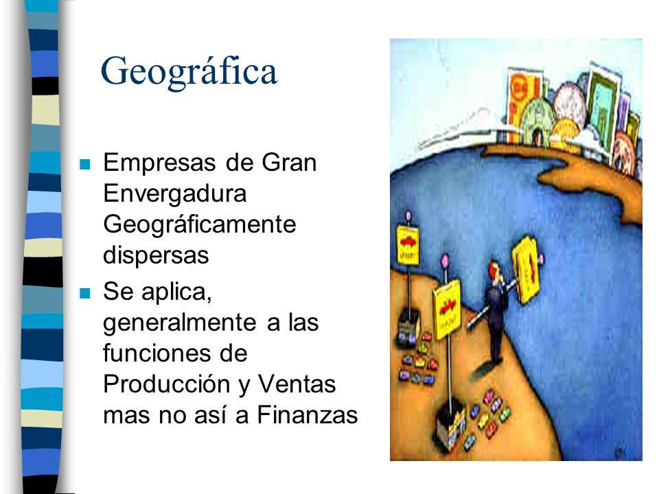 Geográfica n Empresas de Gran Envergadura Geográficamente dispersas n Se aplica, generalmente a las funciones de Producción y Ventas mas no así a Fina