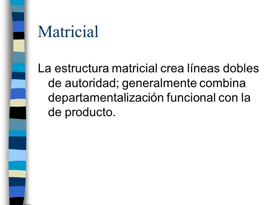 La estructura matricial crea líneas dobles de autoridad; generalmente combina departamentalización funcional con la de producto.