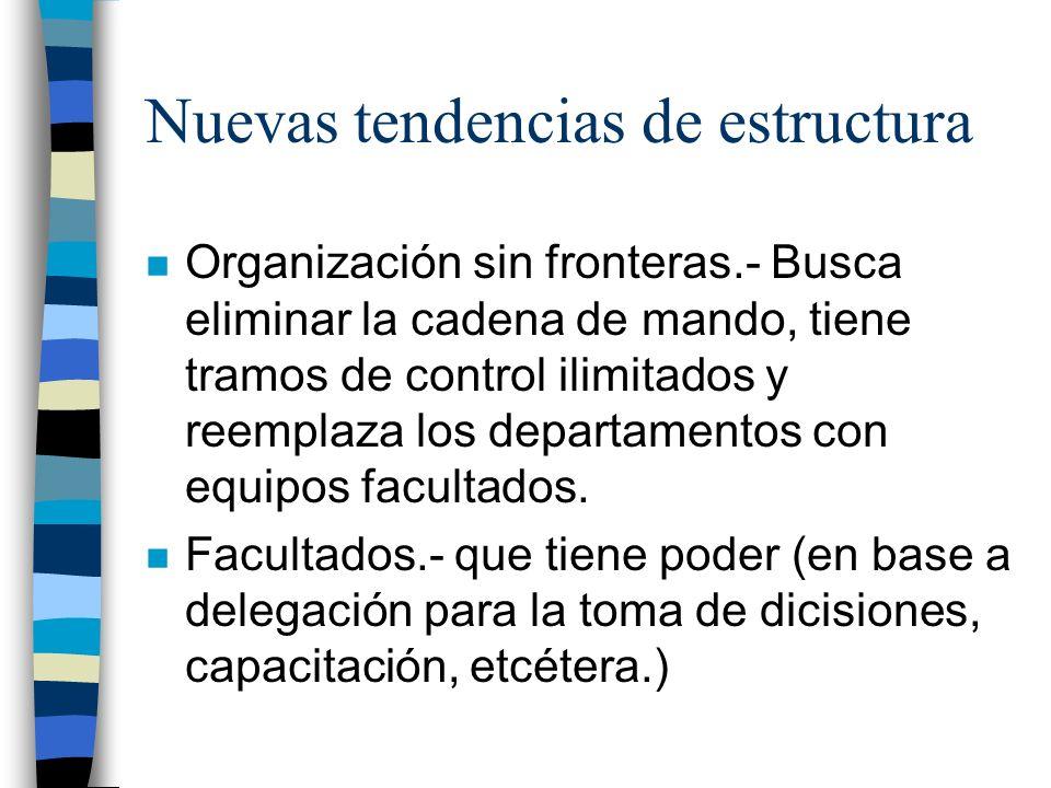 Nuevas tendencias de estructura n Organización sin fronteras.- Busca eliminar la cadena de mando, tiene tramos de control ilimitados y reemplaza los d