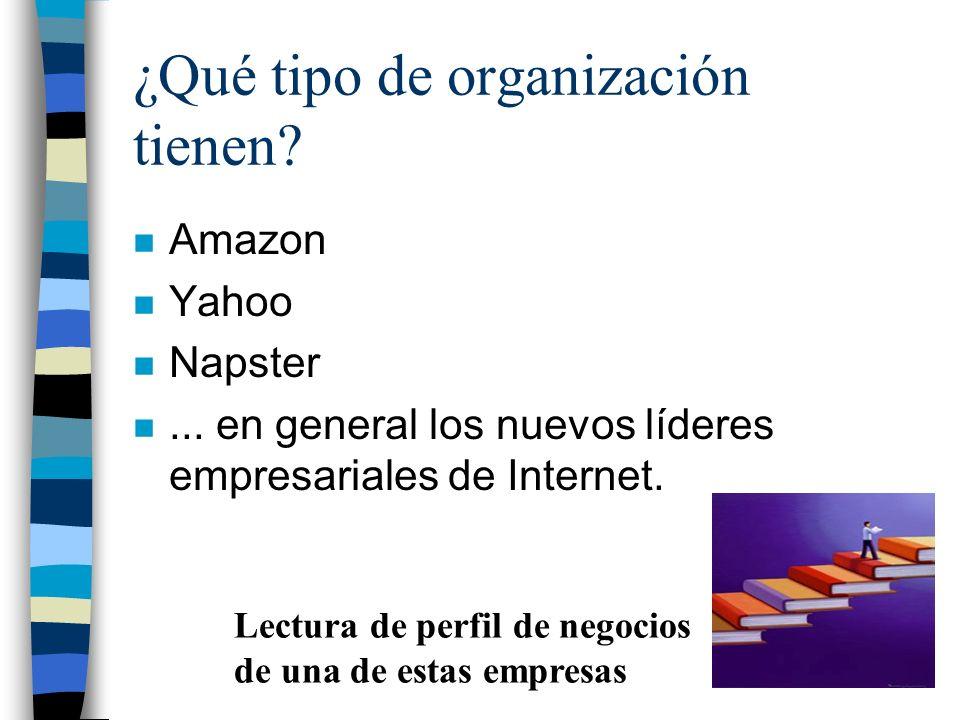 ¿Qué tipo de organización tienen? n Amazon n Yahoo n Napster n... en general los nuevos líderes empresariales de Internet. Lectura de perfil de negoci