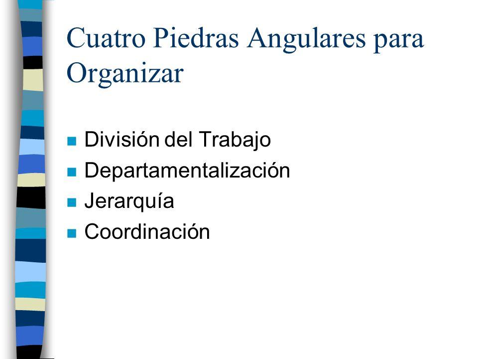 Cuatro Piedras Angulares para Organizar n División del Trabajo n Departamentalización n Jerarquía n Coordinación