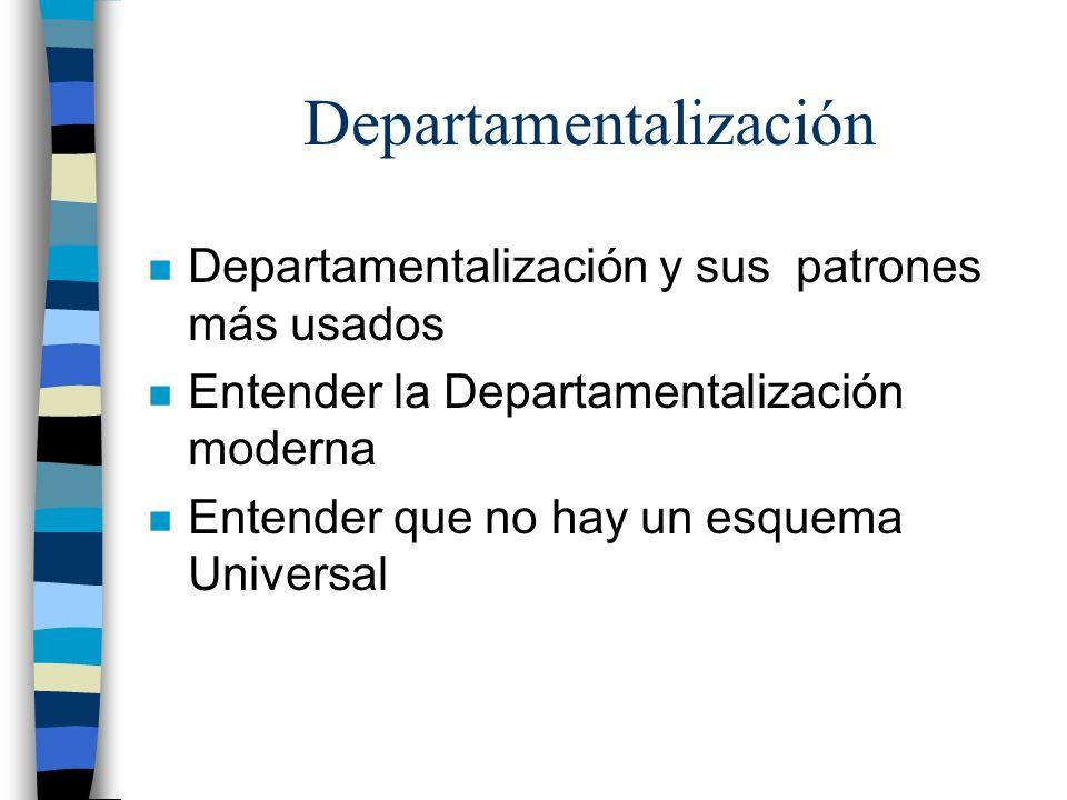 n Departamentalización y sus patrones más usados n Entender la Departamentalización moderna n Entender que no hay un esquema Universal Departamentaliz
