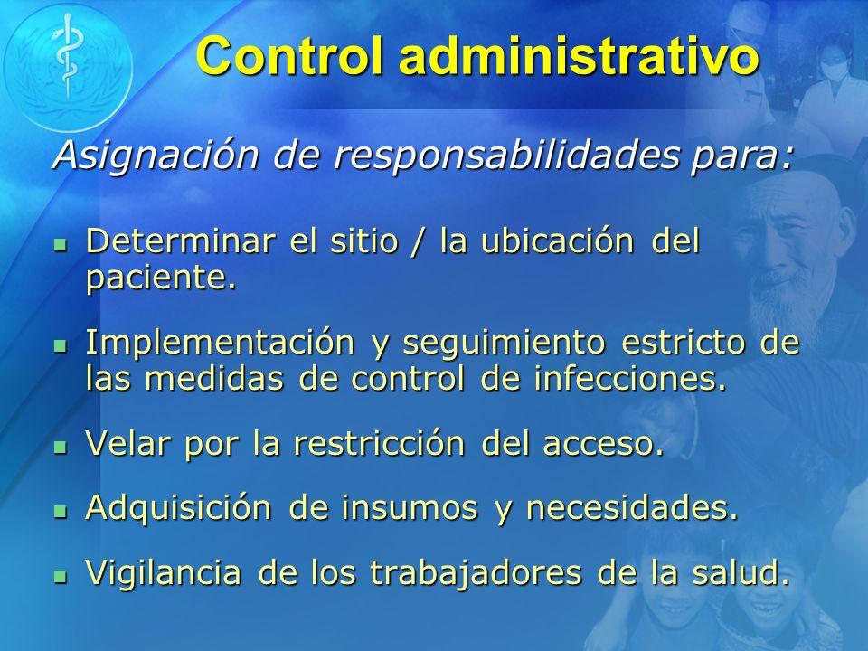 Control administrativo Asignación de responsabilidades para: Determinar el sitio / la ubicación del paciente. Determinar el sitio / la ubicación del p