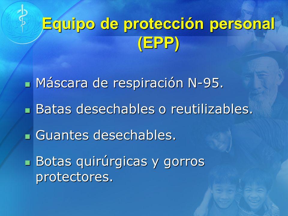 Equipo de protección personal (EPP) Máscara de respiración N-95. Máscara de respiración N-95. Batas desechables o reutilizables. Batas desechables o r