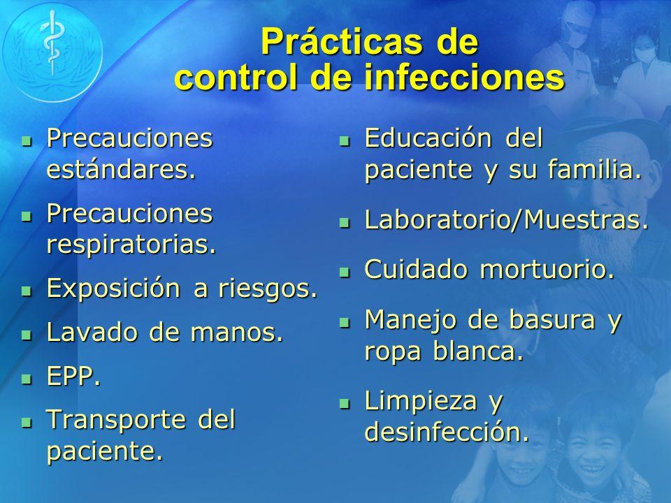 Prácticas de control de infecciones Precauciones estándares. Precauciones estándares. Precauciones respiratorias. Precauciones respiratorias. Exposici