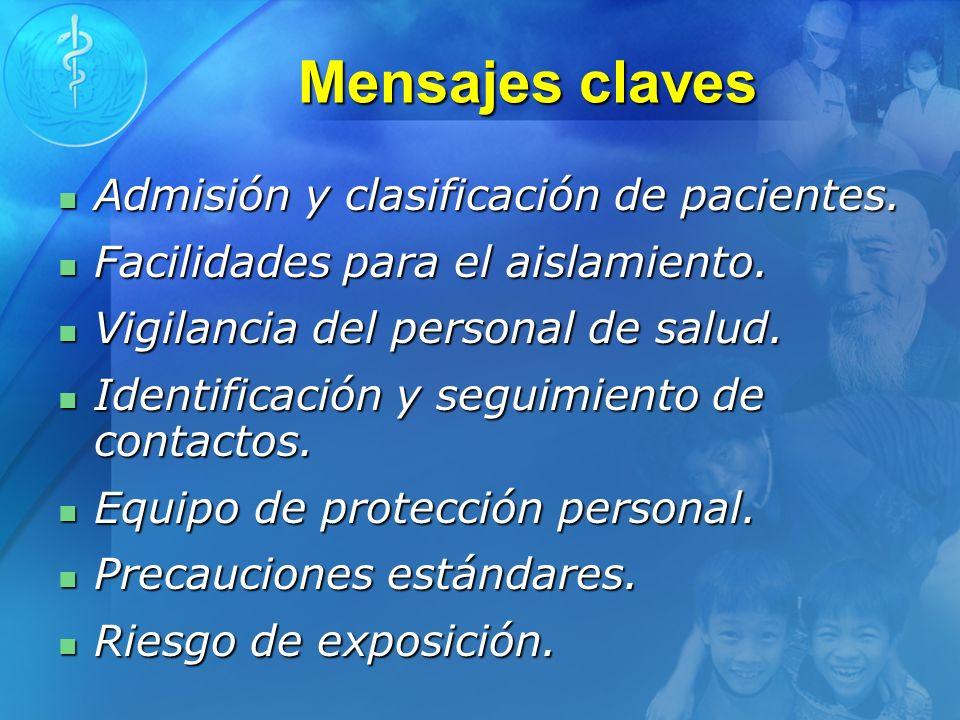 Mensajes claves Admisión y clasificación de pacientes. Admisión y clasificación de pacientes. Facilidades para el aislamiento. Facilidades para el ais