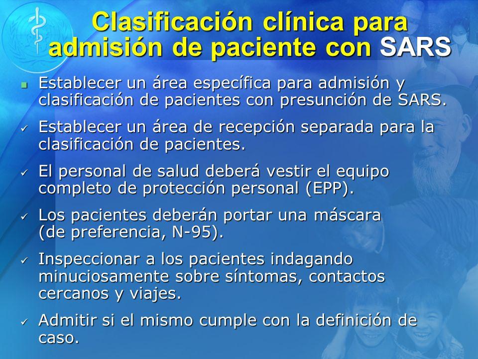 Clasificación clínica para admisión de paciente con SARS Establecer un área específica para admisión y clasificación de pacientes con presunción de SA