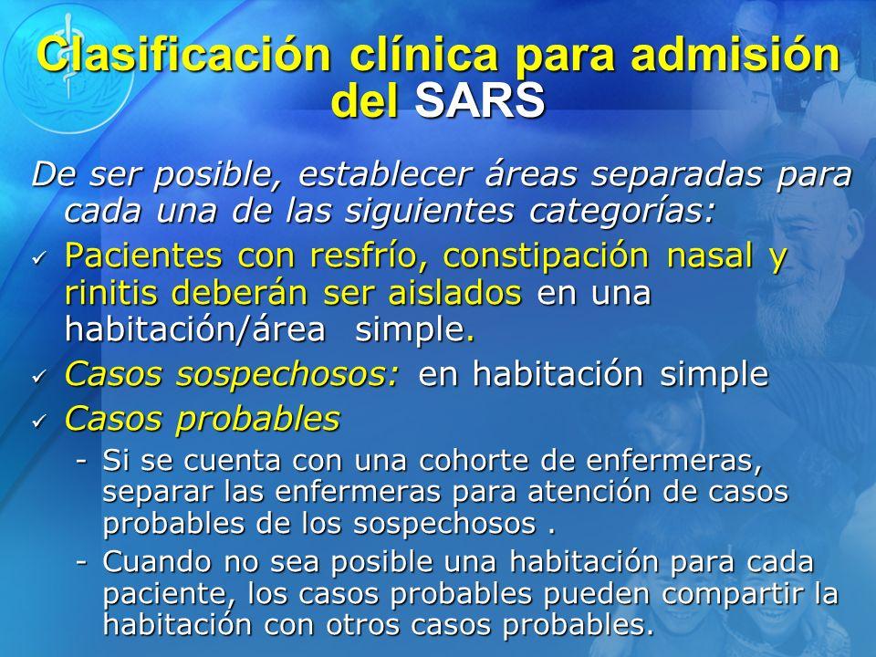 Clasificación clínica para admisión del SARS De ser posible, establecer áreas separadas para cada una de las siguientes categorías: Pacientes con resf