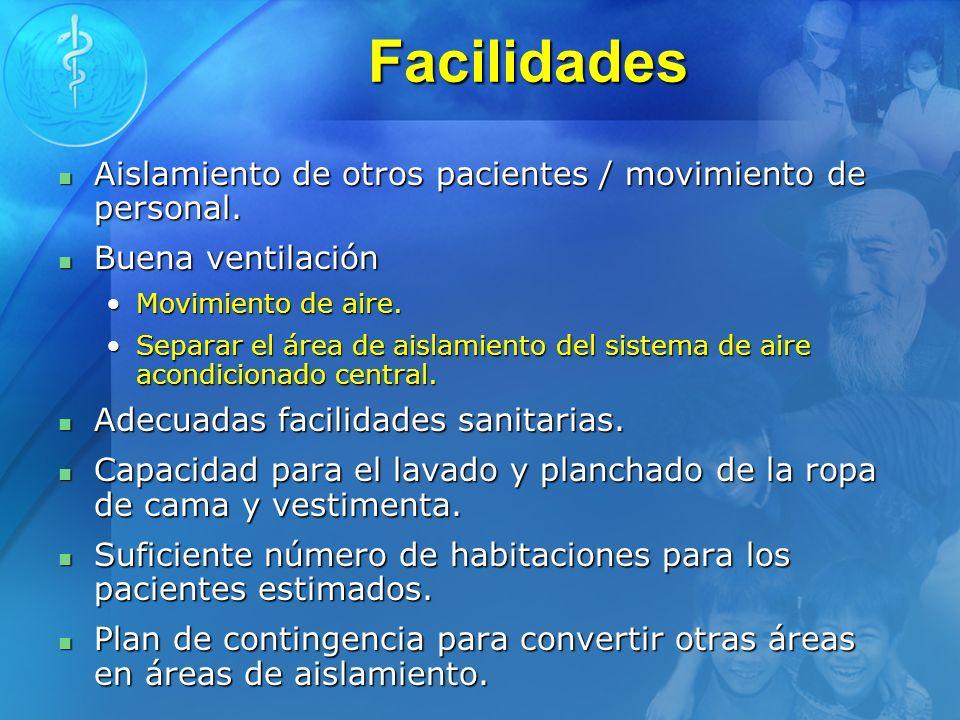 Facilidades Aislamiento de otros pacientes / movimiento de personal. Aislamiento de otros pacientes / movimiento de personal. Buena ventilación Buena