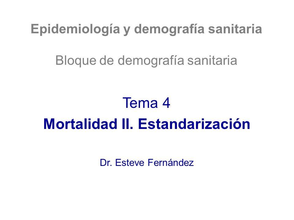 Método directo: otro ejemplo Población estándar (A+B) 0-14 15-6465+ Total 7000 60007000 20000 TMe A0,005 0,0067 0,014 Muertes esp.