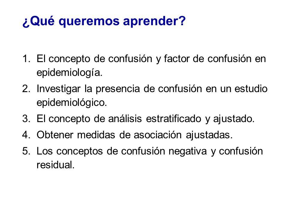 Recapitulación 4.Tipos de confusión La confusión produce una sobreestimación del efecto ( el estimador crudo se aleja de 1,0 y exagera la asociación no ajustada frente a la ajustada).