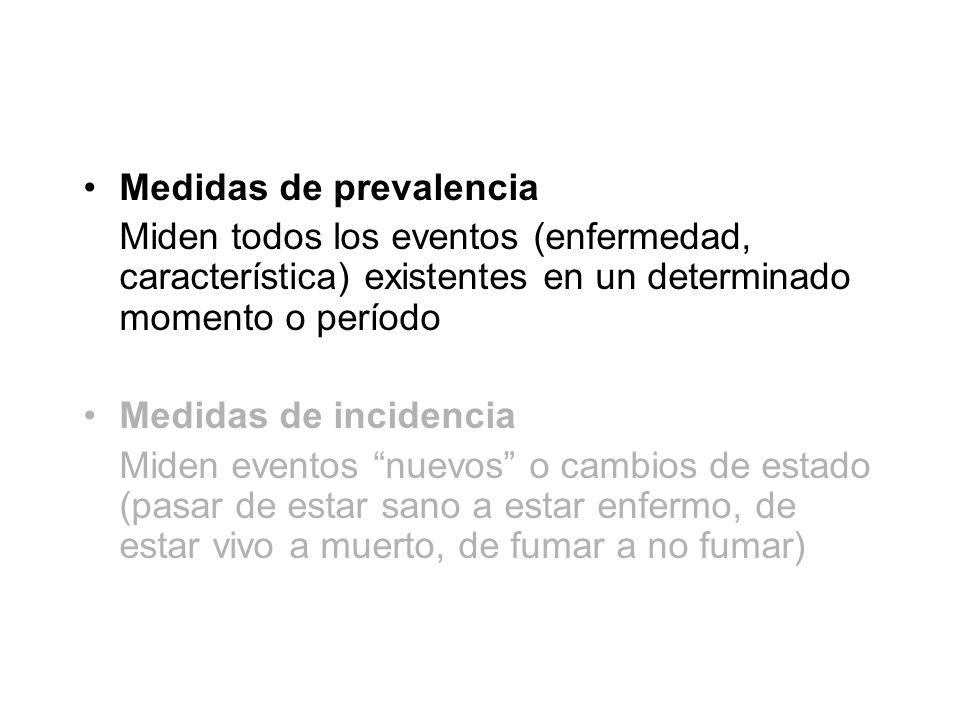 Medidas de prevalencia Miden todos los eventos (enfermedad, característica) existentes en un determinado momento o período Medidas de incidencia Miden