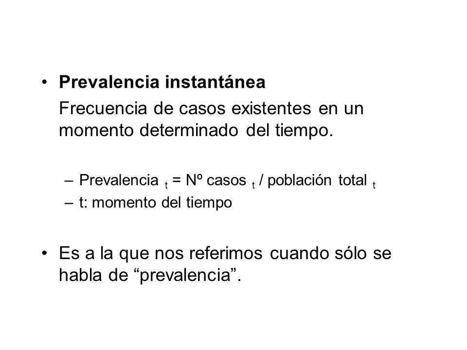 Prevalencia instantánea Frecuencia de casos existentes en un momento determinado del tiempo. –Prevalencia t = Nº casos t / población total t –t: momen
