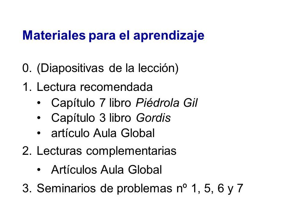 Materiales para el aprendizaje 0.(Diapositivas de la lección) 1.Lectura recomendada Capítulo 7 libro Piédrola Gil Capítulo 3 libro Gordis artículo Aul