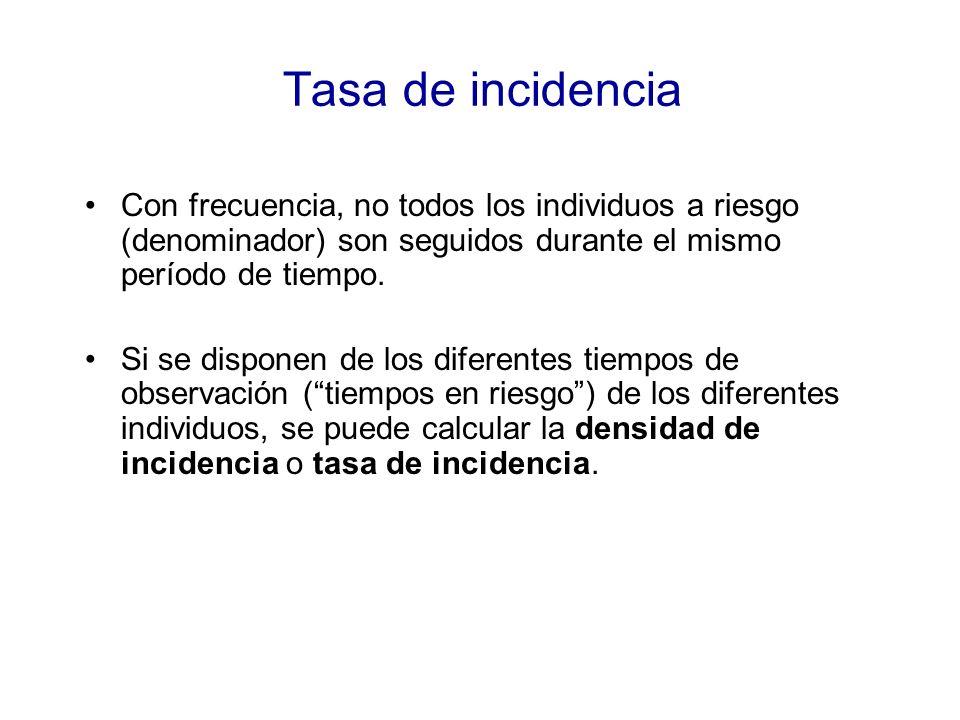 Tasa de incidencia Con frecuencia, no todos los individuos a riesgo (denominador) son seguidos durante el mismo período de tiempo. Si se disponen de l
