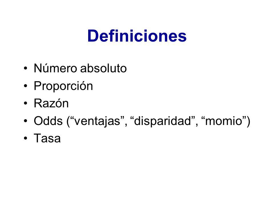 Definiciones Número absoluto Proporción Razón Odds (ventajas, disparidad, momio) Tasa