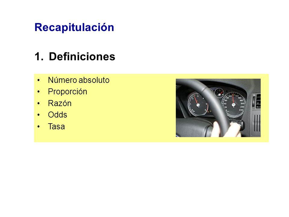 Recapitulación 1.Definiciones Número absoluto Proporción Razón Odds Tasa
