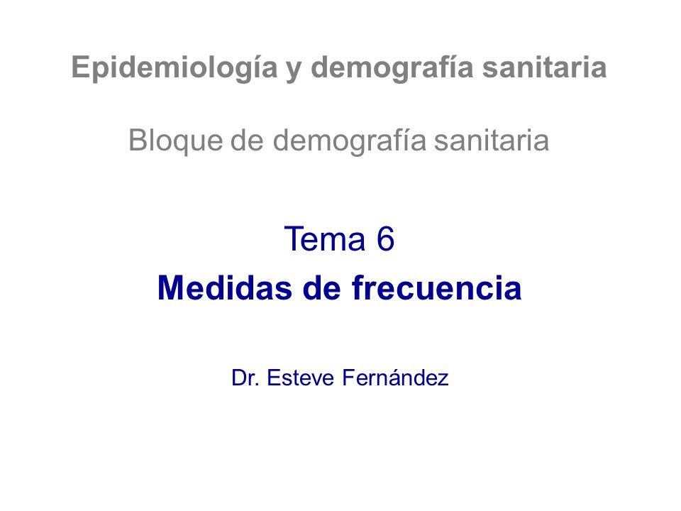 Epidemiología y demografía sanitaria Bloque de demografía sanitaria Tema 6 Medidas de frecuencia Dr. Esteve Fernández