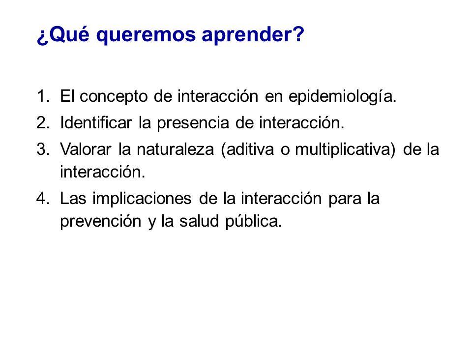 ¿Qué queremos aprender? 1.El concepto de interacción en epidemiología. 2.Identificar la presencia de interacción. 3.Valorar la naturaleza (aditiva o m