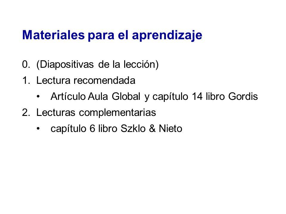 Materiales para el aprendizaje 0.(Diapositivas de la lección) 1.Lectura recomendada Artículo Aula Global y capítulo 14 libro Gordis 2.Lecturas complem