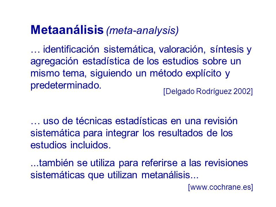 Metaanálisis (meta-analysis) … identificación sistemática, valoración, síntesis y agregación estadística de los estudios sobre un mismo tema, siguiend