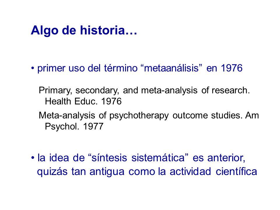 Algo de historia… primer uso del término metaanálisis en 1976 Primary, secondary, and meta-analysis of research. Health Educ. 1976 Meta-analysis of ps