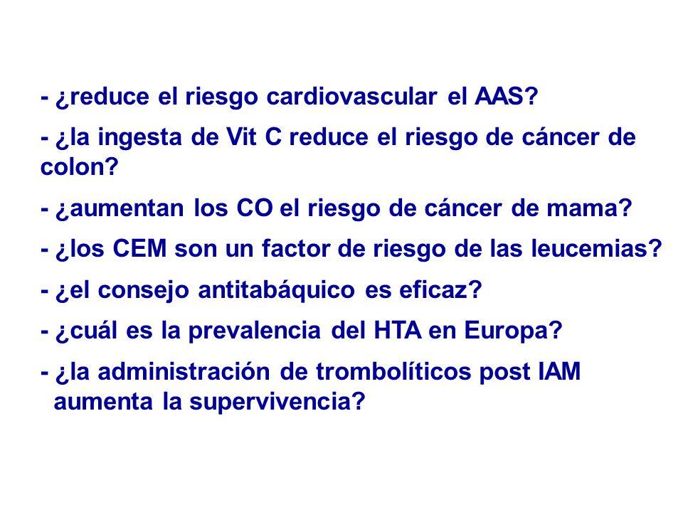- ¿reduce el riesgo cardiovascular el AAS? - ¿la ingesta de Vit C reduce el riesgo de cáncer de colon? - ¿aumentan los CO el riesgo de cáncer de mama?