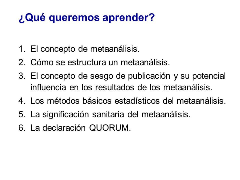 ¿Qué queremos aprender? 1.El concepto de metaanálisis. 2.Cómo se estructura un metaanálisis. 3.El concepto de sesgo de publicación y su potencial infl