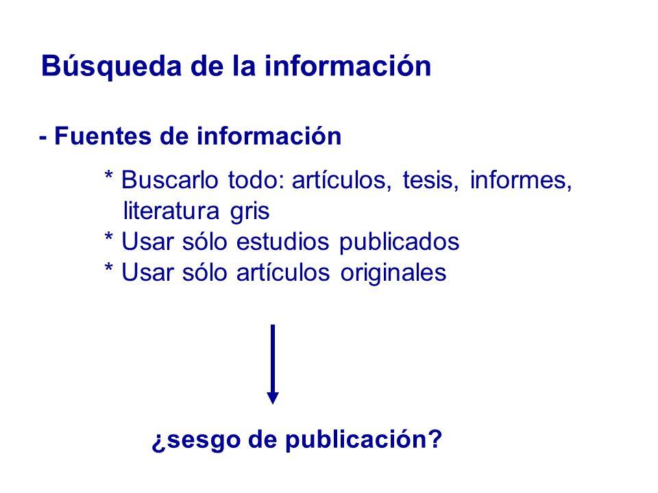 Búsqueda de la información - Fuentes de información * Buscarlo todo: artículos, tesis, informes, literatura gris * Usar sólo estudios publicados * Usa