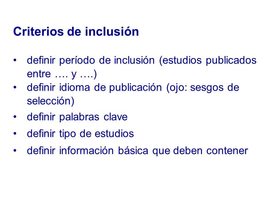 Criterios de inclusión definir período de inclusión (estudios publicados entre …. y ….) definir idioma de publicación (ojo: sesgos de selección) defin