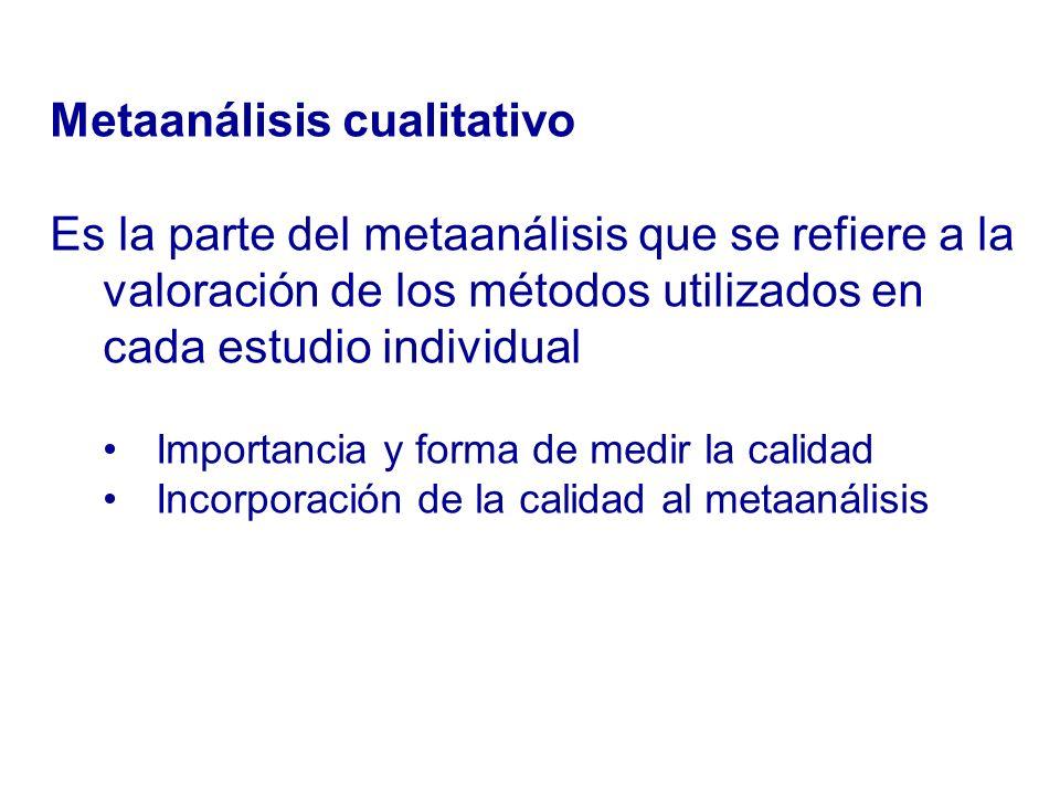 Es la parte del metaanálisis que se refiere a la valoración de los métodos utilizados en cada estudio individual Importancia y forma de medir la calid