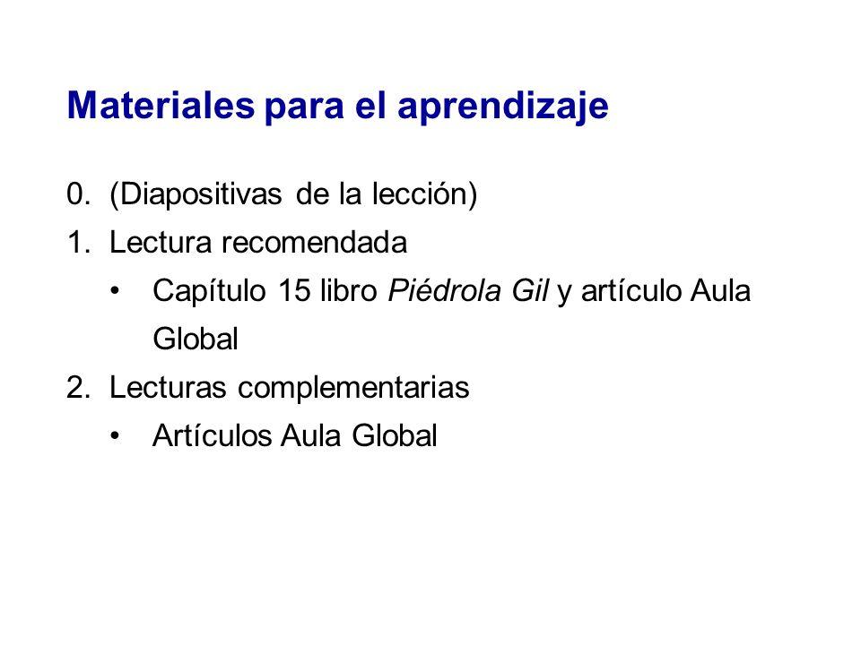 Materiales para el aprendizaje 0.(Diapositivas de la lección) 1.Lectura recomendada Capítulo 15 libro Piédrola Gil y artículo Aula Global 2.Lecturas c