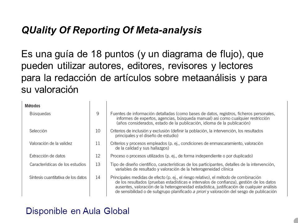 QUality Of Reporting Of Meta-analysis Es una guía de 18 puntos (y un diagrama de flujo), que pueden utilizar autores, editores, revisores y lectores p