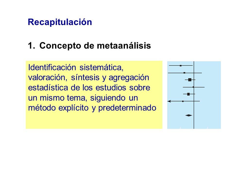 Recapitulación 1.Concepto de metaanálisis Identificación sistemática, valoración, síntesis y agregación estadística de los estudios sobre un mismo tem