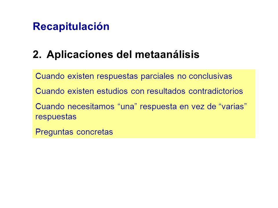 Recapitulación 2.Aplicaciones del metaanálisis Cuando existen respuestas parciales no conclusivas Cuando existen estudios con resultados contradictori