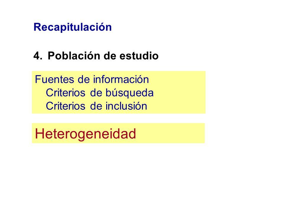 Recapitulación 4.Población de estudio Fuentes de información Criterios de búsqueda Criterios de inclusión Heterogeneidad