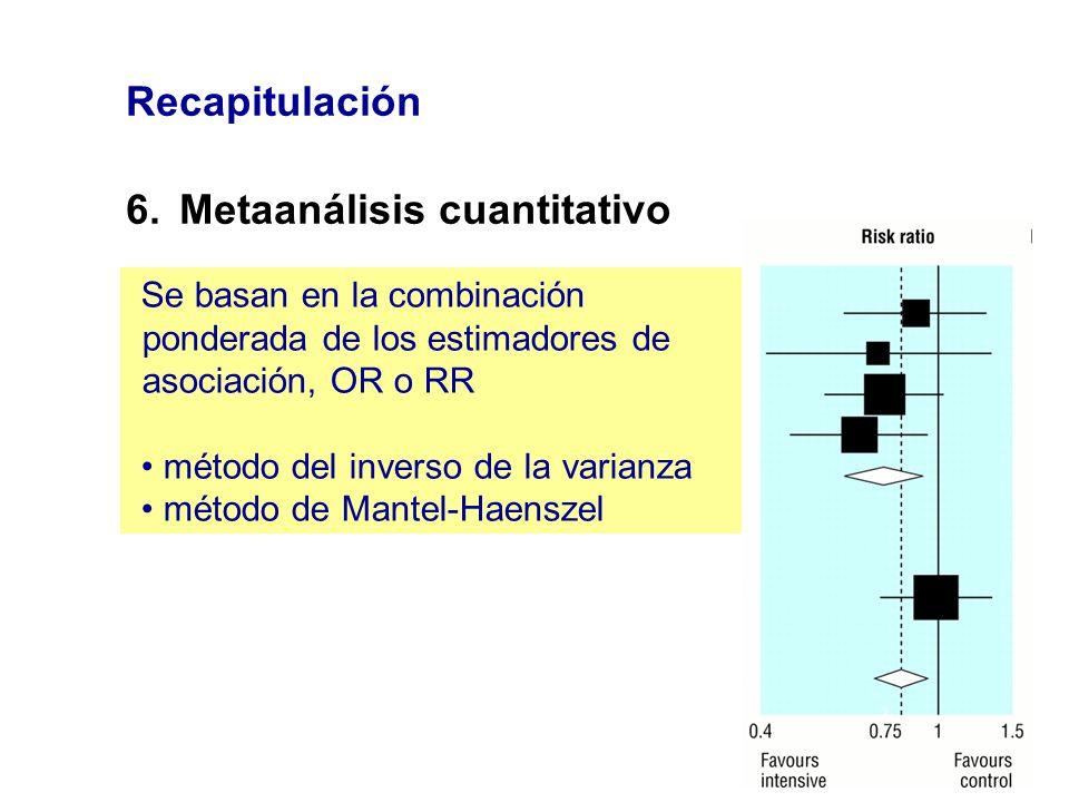Recapitulación 6.Metaanálisis cuantitativo Se basan en la combinación ponderada de los estimadores de asociación, OR o RR método del inverso de la var