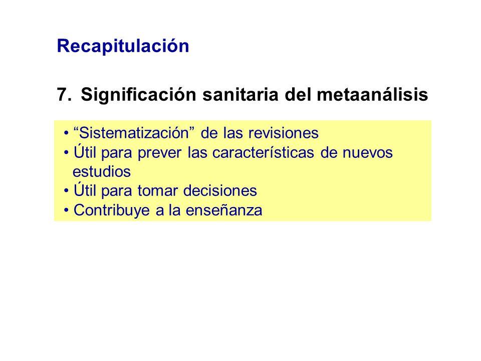 Recapitulación 7.Significación sanitaria del metaanálisis Sistematización de las revisiones Útil para prever las características de nuevos estudios Út